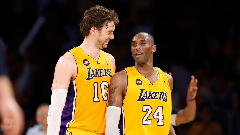 f05be53aa Los Angeles Lakers  Pau Gasol (L) of Spain smiles with his teammate Kobe  Bryant during the second half of their NBA basketball game against the  Dallas ...