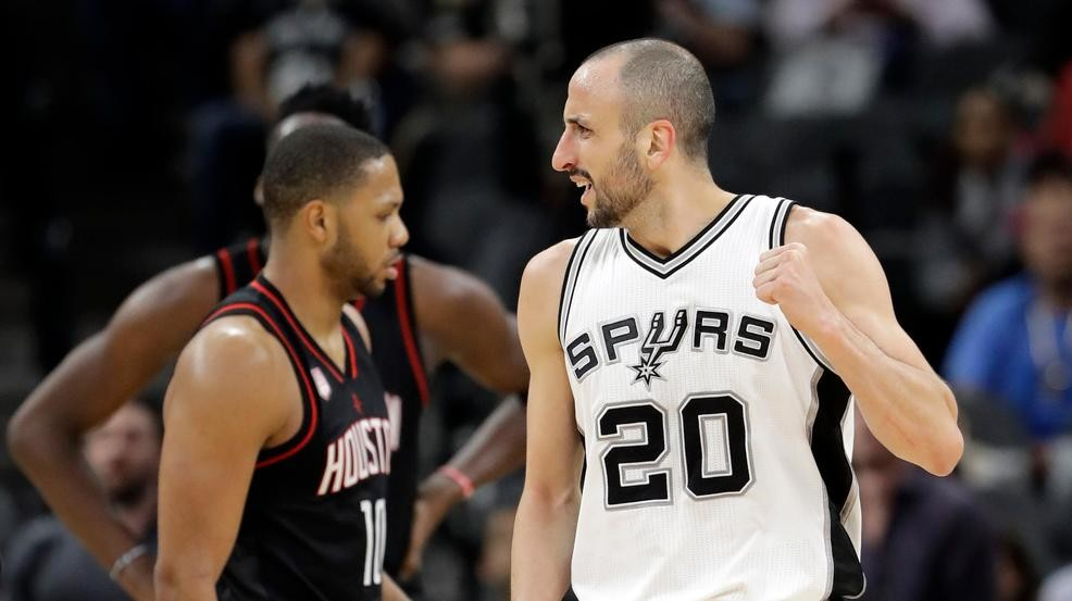 d35bad8ccc65 San Antonio Spurs  Manu Ginobili (20) of Argentina celebrates a turnover by  Houston Rockets  Eric Gordon (10) during the second half in Game 5 of an  NBA ...